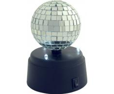 Olympia DSB 01 - Bola de discoteca para mesa o pared (3 ledes, 3 pilas AA no incluidas, con interruptor, 12 x 10 x 10 cm), color negro