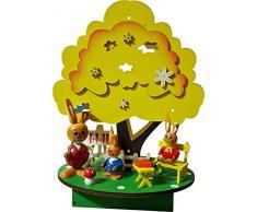 "'Ventana de Pascua decoración espacial Decoración Pascua Conejo ""Hase Escuela de bola de madera iluminada aprox. 18 x 13 x 25 cm primavera decoración conejo Figura (75561)"