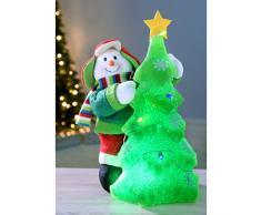 WeRChristmas 39 cm Pre-Lit de muñeco de nieve decorativa para árbol de Navidad con un LED que cambia luz, Multi-color