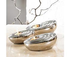 Pure. Estilo de vida – Soportes para velas de forma ovalada (conjunto de 3) – galvanizado cromo pulido plata cerámica candelabro figura decorativa porcelana decoración manualidades boda regalos, Bienvenido a casa calentamiento