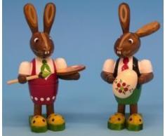 Original Erzgebirge Volkskunst - Figura decorativa, diseo de conejo de pascua y seora