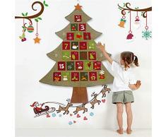 FRFJY Calendario de Adviento de Tela de árbol de Navidad de Fieltro Cuenta atrás para calendarios de Adviento de Navidad para niños Decoración para Colgar en la Pared