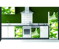 Plage Verduras Vinilo Adhesivo para la Cocina, Vinilo, Verde, 60x3x180 cm
