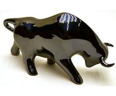 Escultura cerámica de TORO hecho y pintado a mano. Figura decorativa. (Tamaño MEDIANO 27 cm x 16 cm x 12 cm) (METALIZADO)