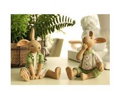 DAJIADS Figurillas Figurillas Estatuas Estatua Estatuilla Resina Verde Conejo Conejito De Pascua Muelle Estatua De Figurillas Mini Escultura Kids Juguetes Doll Regalos Cotillón Decoración De Hogar