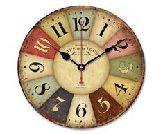 Ularma Reloj de pared madera de estilo toscano de país francés colorido vintage