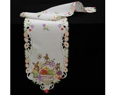 Quinny Shop Primavera Pascua decorativos multicolor Pascua bordado Camino de mesa Mantel Tamaño a Elegir poliéster, color blanco, poliéster, Weiß, 30 x 160 cm