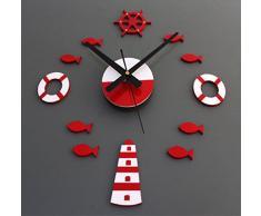 FEITONG El estilo mediterráneo de DIY el reloj de pared 3D Inicio pared pegatinas decoración del arte del reloj (Rojo)