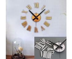 FEITONG Reloj de lujo de bricolaje pared 3D Superficie de gran tamaño la decoración del hogar del arte del reloj (oro)