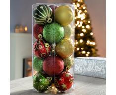 WeRChristmas - Bolas decorativas navideñas (15 unidades, inastillable), color rojo, dorado y verde