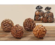 Popurrí de 4 Bolas Decorativas en Colores Madera Natural de 10 cm Surtidas