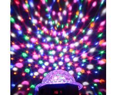 Lixada Luces de Escenario Rotación estroboscópico LED 7Canales RGBPYW Efecto Bola Cristal Mágica para Bares Discoteca DJ DMX-512