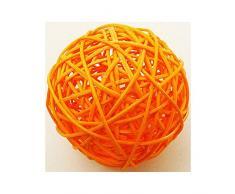 2 bolas de mimbre, de color naranja. 6 cm de diámetro.