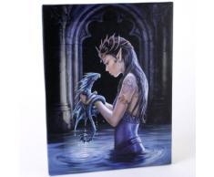Dragón de agua (Water Dragon) - un hada gótico con su bebédragón - diseño fantástico por artista Anne Stokes- lienzo cuadro marco pared placa / arte de pared