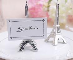 e-meoly Set de 5pcs lugar titular de la tarjeta de la torre Eiffel estilo tarjeta abrazadera soporte cuadro fotos de nota memo clip de tarjeta de nombre soporte para jardín boda fiesta Deco