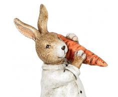 dekojohnson - Figura Decorativa de Conejo de Pascua, niño con Zanahoria, para jardín, decoración de Pascua, Color Crema, marrón, de pie, 21 cm