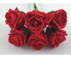 No destiñe Bud ramo Artificial rosa - 21 cm, rojo
