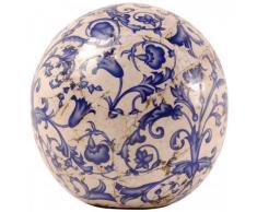 Esschert Design – Bola decorativa, Bola Jardín de cerámica en color azul de color blanco, varios tamaños