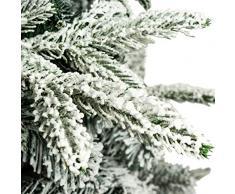 Árbol de Navidad Flocado con Copos de Nieve Abeto Artificial Nevado Automontable C/Soporte Metálico 120-210cm (180cm 878Tips, Flocado)