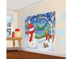 amscan Escena de Nieve decoración Pared Kit muñeco de Nieve