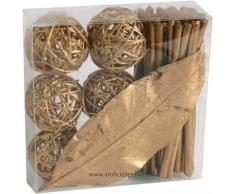 Artificiales - Kit Deco ratán oro: 6 Fagots 6 bolas 1 hoja - choisissez votre color: oro