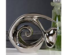 Figura decorativa, – Pescado decoración Atlántico, cerámica, plata brillante, 23 x 18 cm