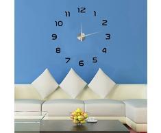 Gosear DIY 3D Grande Reloj Tiempo del Etiqueta de Pared para Bricolaje Decoración del Hogar Oficina (Estilo Moderno Simple,Negro)
