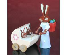 Hare + Madre cochecito gemelo 5.5cm Pascua Conejito de Pascua decoración Conejo NUEVO 224/213