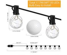 Guirnalda Luces Exterior e Interior GlobaLink, G40 LED Cadena de Luces 17,7m 50+3 Bombillas IP65 Impermeable 3V Energía Ahorrada A+++ Decoración para Fiesta Navidad Boda en Jardín Patio-Blanco Cálido