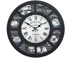 Reloj de pared decorativo | tema Cafe de la tour Londres 1863 | estilo shabby chic | color negro | forma redonda | 50cm