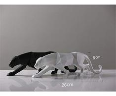 qianyue Resina Abstracto Negro Pantera Escultura Figura Decorativa Artesanal casa Escritorio decoración geométrica Resina Wildlife Leopardo Estatua Craft (Negro)