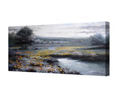 Cuadros en lienzo paisaje con flores amarillas panorámicos alargados -Pintura actual pintada a mano con pinturas al oleo - Arte para decoración