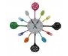Reloj Pared Moderna Decoración Cocina Forma Cubiertos Tenedor Cuchara Colorido