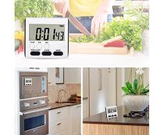 Mudder Temporizador de Cocina Temporizador Digital Reloj Magnético Digital para 24 Horas Reloj Temporizador Digital con El Soporte Pantalla Grande,2 Paquetes, Blanco y Negro