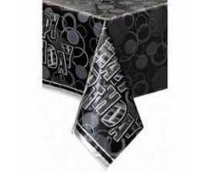 Unique Party Mantel de Hule de cumpleaños, Color Negro, Feliz (28473)