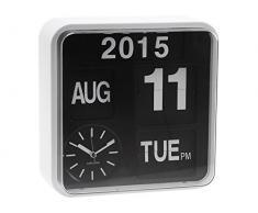 Karlsson Mini Flip - Reloj de pared, marco blanco y fondo negro