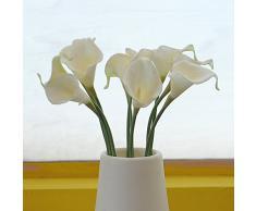 Soledi®10 Piezas de Calla Lily lirio Artificiales flores falsas de tela Hydrangea Adorno para Boda Ceremonias Navidad hogar decoración blanco
