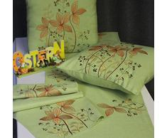 Camino de mesa Camino Pascua Primavera mesa decoración bordado mesa banda rústico Shabby aspecto de lino verde 40 x 150 cm
