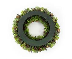 Decorativa corona de abeto, boj, bayas y piñas, Ø 35 cm - Composición floral / Guirnalda artificial - artplants