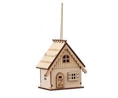 OULII Adornos para árbol de navidad Casitas de Madera con Luces Decoracion navideña