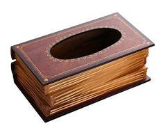 niceEshop(TM) Caja de Pañuelos de la Forma de Libro de Estilo Retro (Café)
