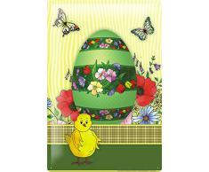 Cartel de chapa Placa metal tin sign Nostálgica Huevo de Pascua pintado con coloridas flores mariposas polluelos Decoración De Pared 20X30 cm
