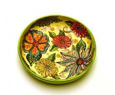 ENSALADERA Nº2 plato hondo en ceramica hecho y pintado a mano con decoración flor. 24,5 cm x 24,5 cm x 5,5 cm (VERDE)