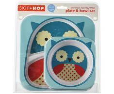 Skip Hop - Juego de cuenco y plato con compartimentos de melamina con diseño de búho