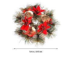 LIOOBO Corona de adviento de Navidad candelabro de adviento y Decoraciones de Velas de Navidad (Rojo)