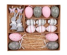 Valery Madelyn 18Pcs 2.36in / 6cm Decoración Plástica de Los Huevos de Pascua, Adornos Rosas y Gris de Los Regalos de La Caza De Pascua para Los Niños/La Cesta/El Árbol (Primavera Gris Rosada)