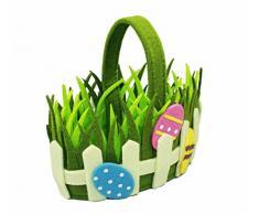 HAAC Deko Fieltro cesta Pascua cesta Nido con huevo de Pascua y asa 20 cm x 12 cm x 16 cm