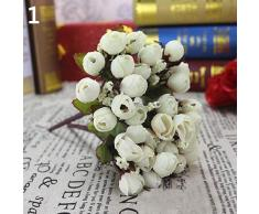 ypypiaol Ramo De Rosas Artificiales Dulces Ramo De Novia Para El Hogar Rosa 15 Flores En 1 Pieza blanco