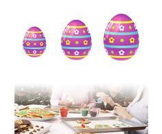 Xiuinserty - Moldes de Pascua para decoración de pasteles, huevos de Pascua, cortador de galletas de acero inoxidable, 3 piezas por juego