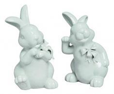MaRab Figura Decorativa de Conejo de Pascua Color Blanco de Porcelana, 2 Capas, Aprox. 18 cm Pascua Ideal como Regalo y Mesa – Decoración